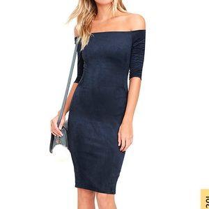 Navy Blue off the shoulder suede dress